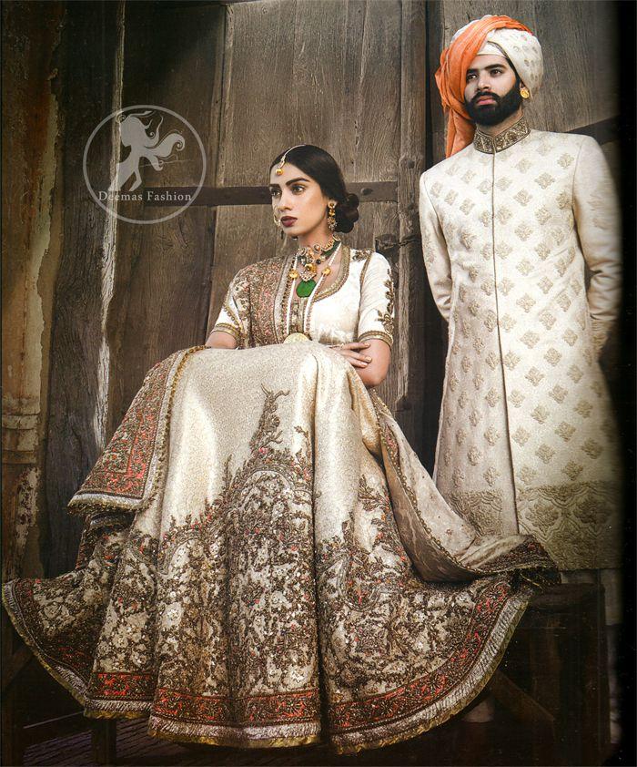 White Wedding Indian Dress: Off White Bridal Lehenga Choli In