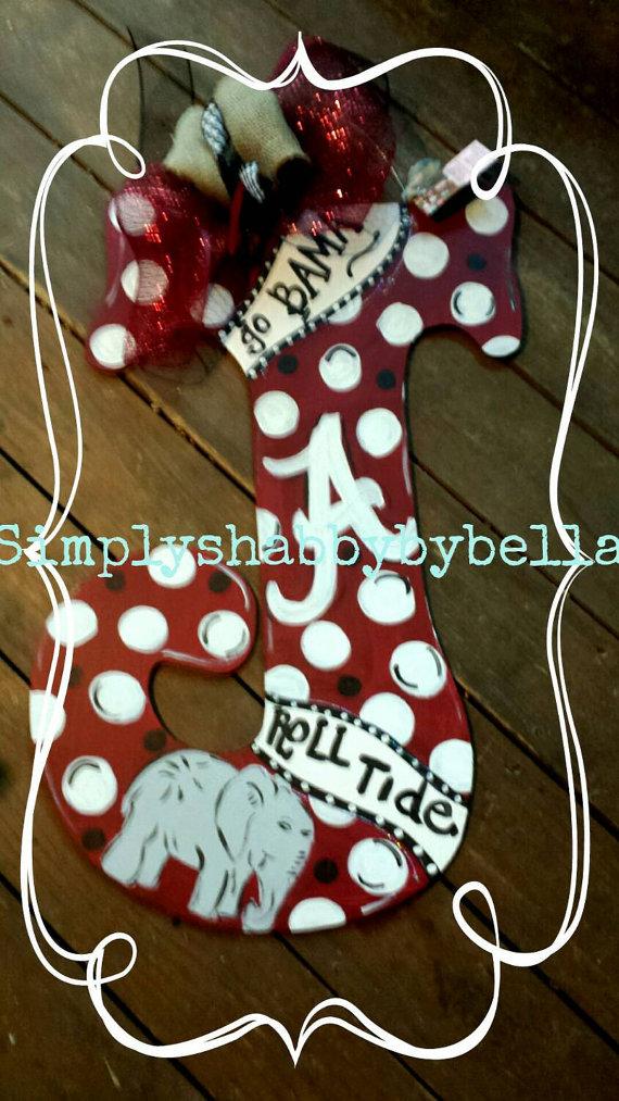 Alabama Roll Tide Wooden Letter Door by SimplyShabbyByBella & Alabama Roll Tide Wooden Letter Door by SimplyShabbyByBella | crafts ...
