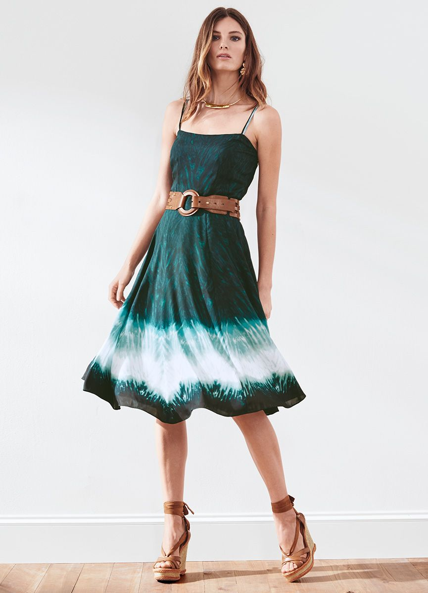 a508d017a8316 This warm-weather staple features a universally flattering, fit-and-flare  silhouette and a spirited dip dye design. Wear it with neutral strappy  sandals or ...