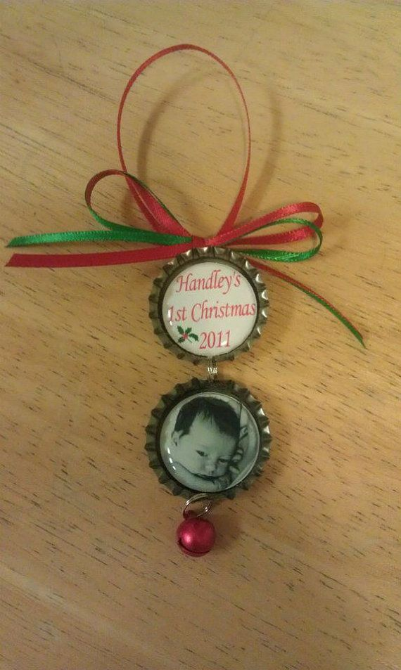 Personalized Christmas Bottle Cap Ornament (2 Children) Merry Christmas, Baby's First, 2013