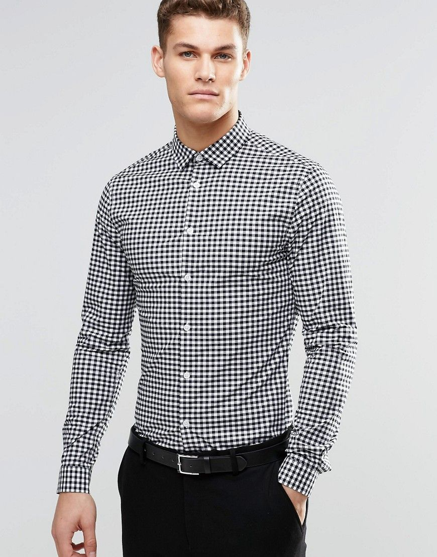 fd037a98871e Skinny Gingham Check Shirt In Black   Suits   Pinterest   Gingham ...