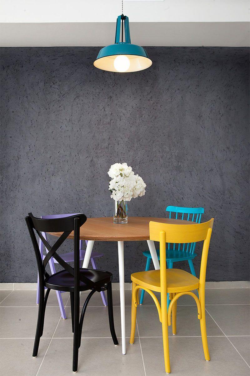 e6ecd0a51 Ideias de como usar cadeiras coloridas na sala de jantar