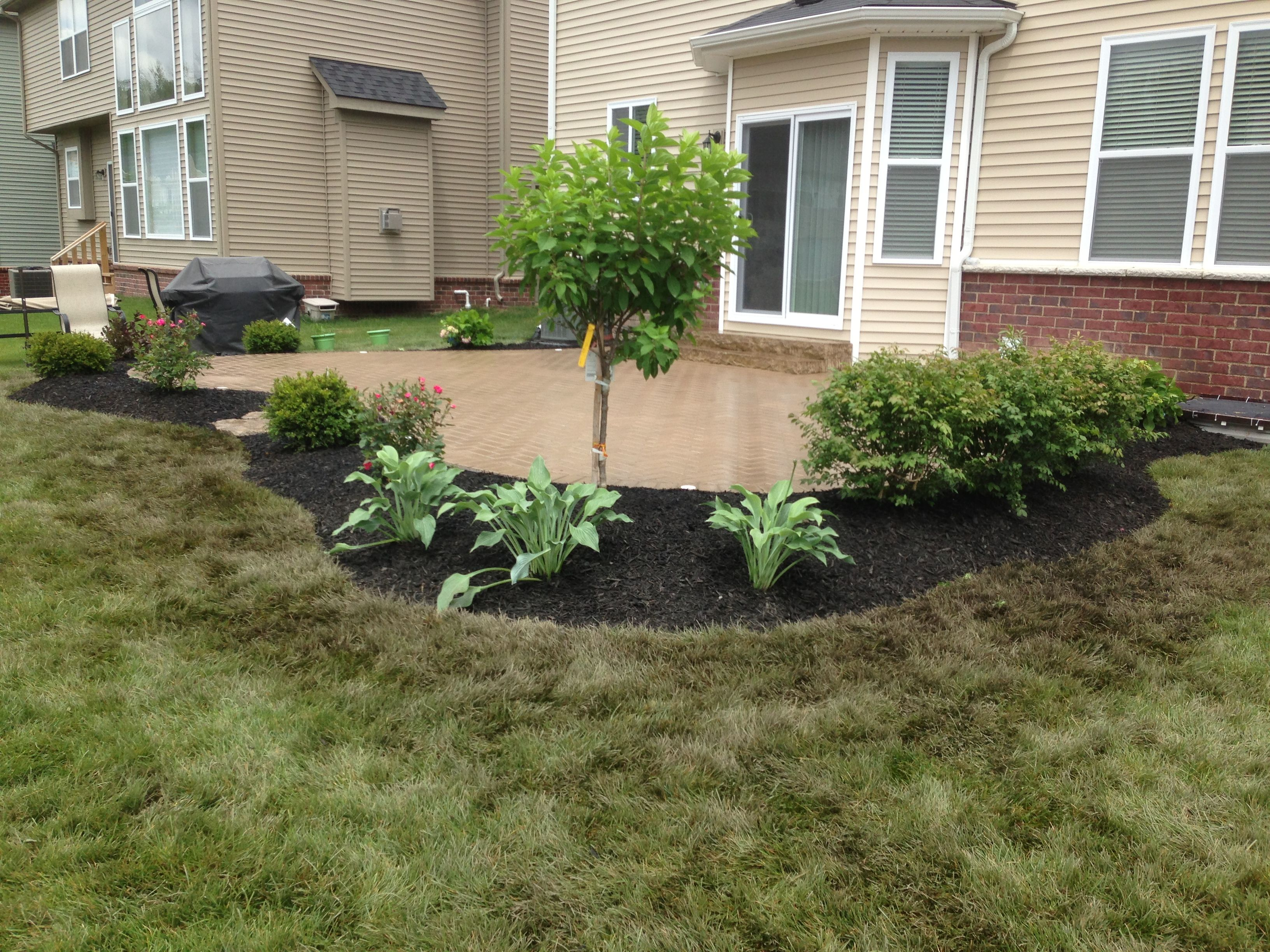 Flower bed around brick paver patio for extra privacy Hydrangea