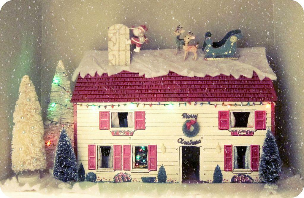 Christmas Dollhouse Decorations.Vintage Christmas Dollhouse Dollhouse Tin Retro