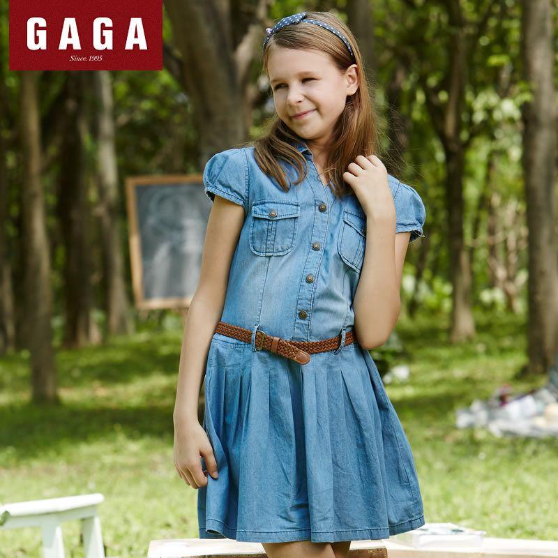 (Buy here: http://appdeal.ru/30p8 ) New 2016 Summer  Girls Denim Dresses With Belt  Vestidos Short Sleeve Brand  Children dress  8 - 16 Years for just US $30.99