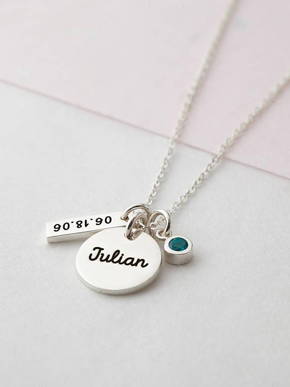 149a2a3f1ec41 New Mom Necklace - Baby Name Necklace - Gift for New Mom - Kid's ...