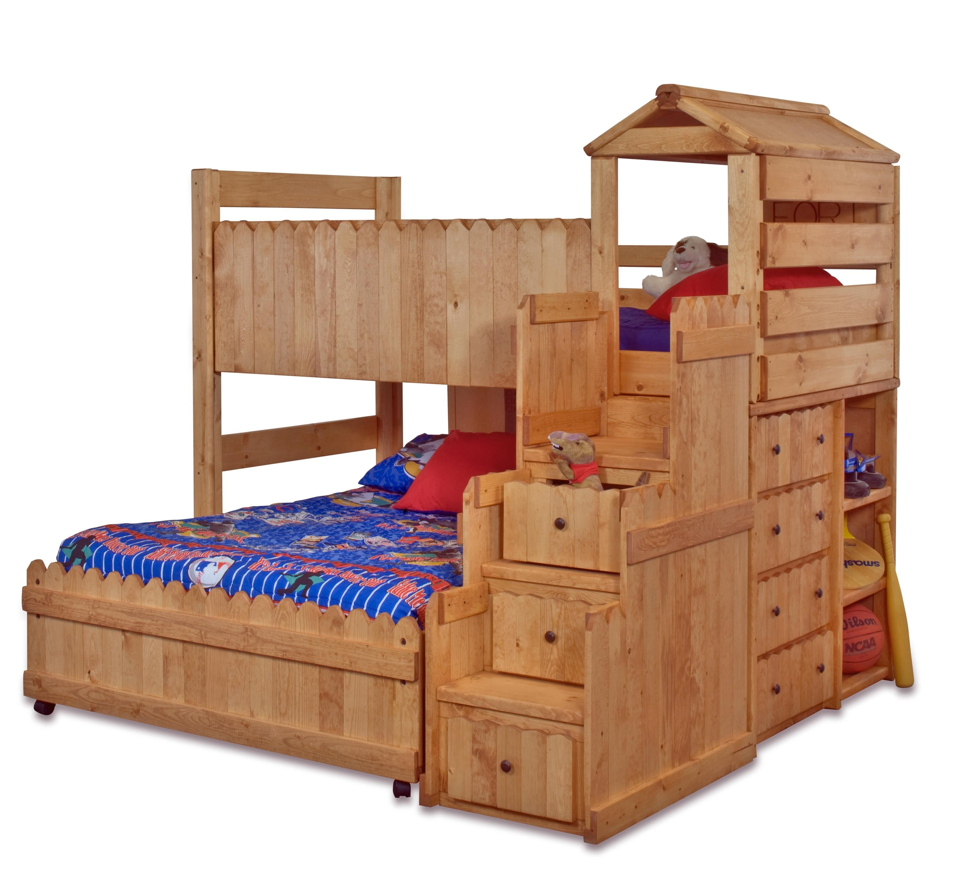 The Fort Twin/Full Complete Loft Fort Bed with Stairway Chest by