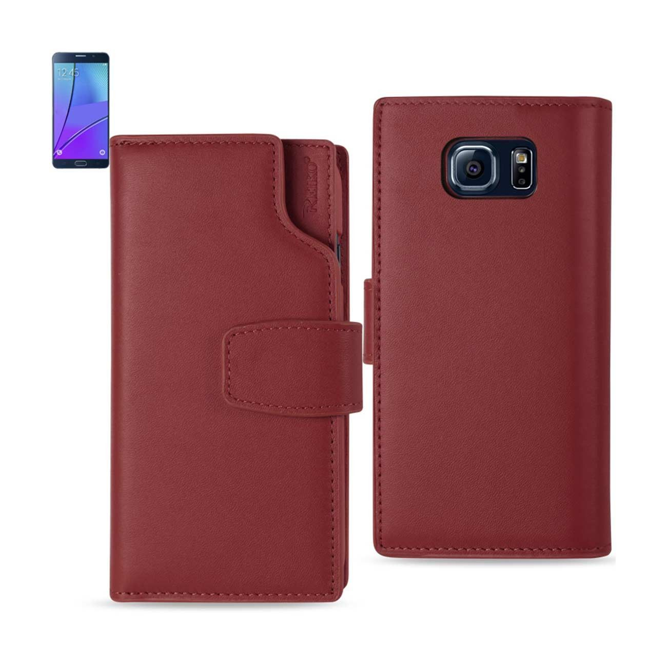 REIKO SAMSUNG GALAXY NOTE 5 GENUINE LEATHER WALLET CASE WITH OPEN THUMB CUT IN BURGUNDY