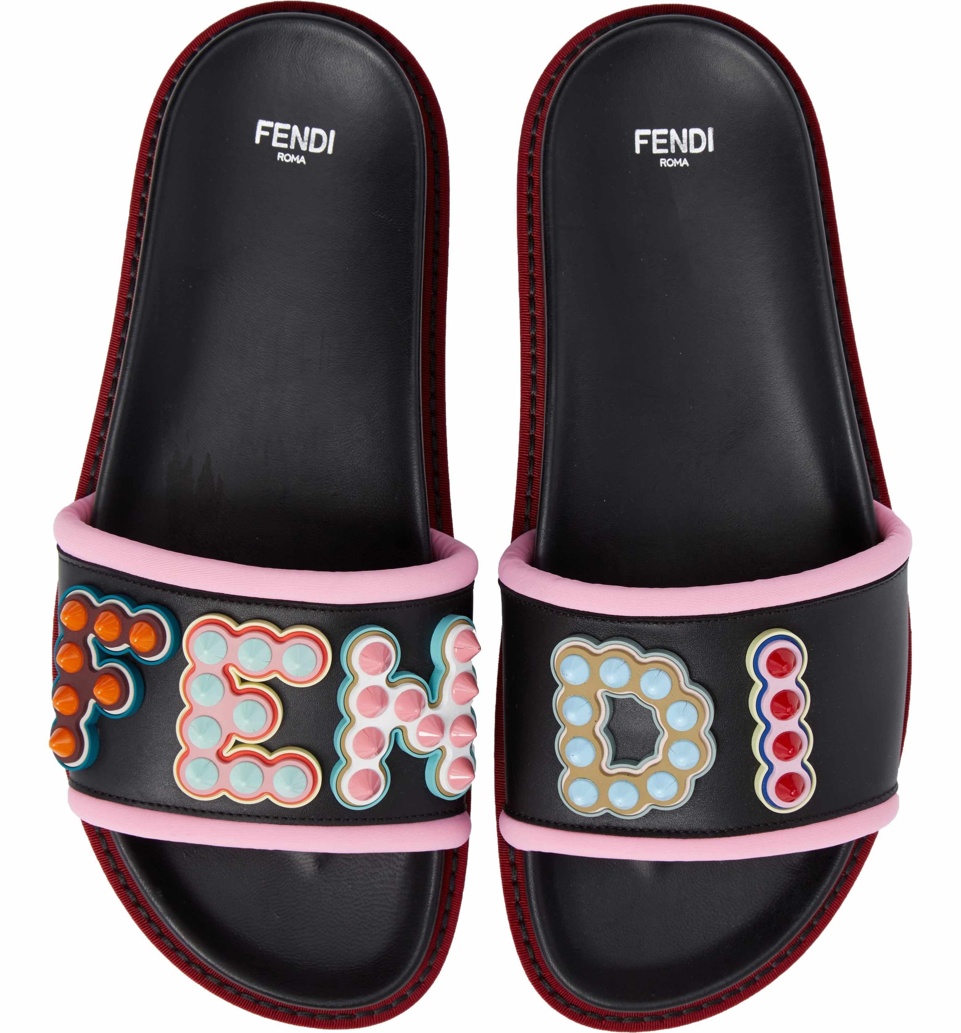 Fendi Studded Logo Slide Sandal (Women