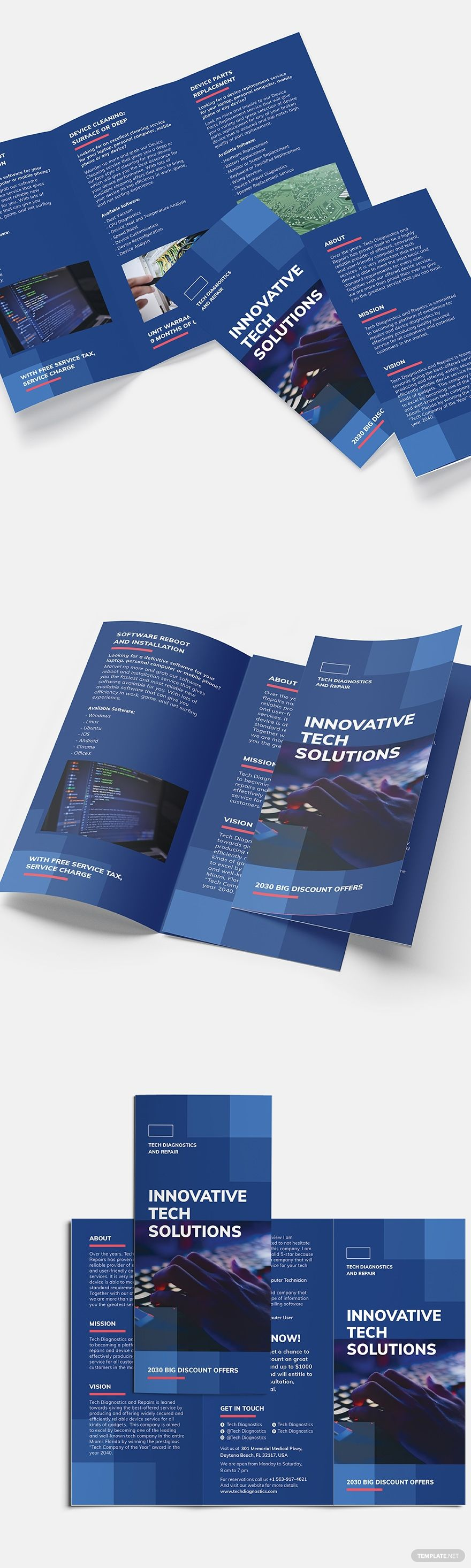 Computer Service TriFold Brochure Template in 2020