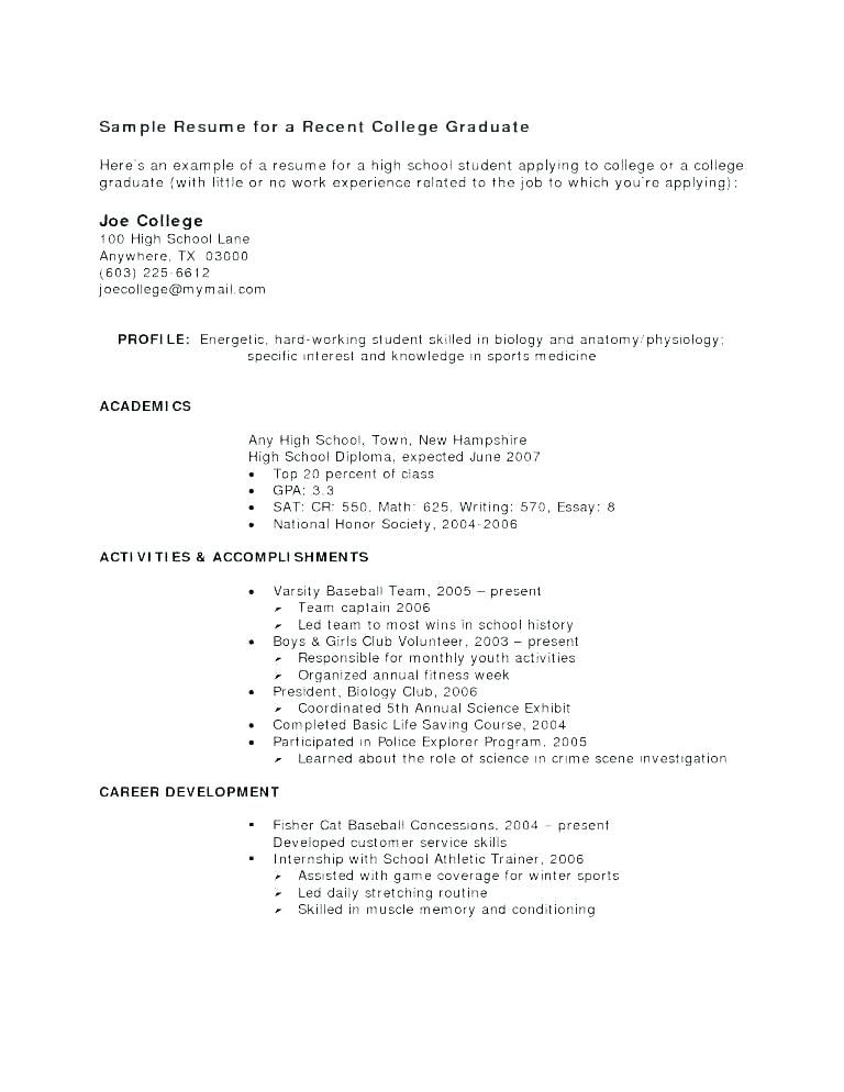 How To Write A Resume For A Highschool Graduate Without