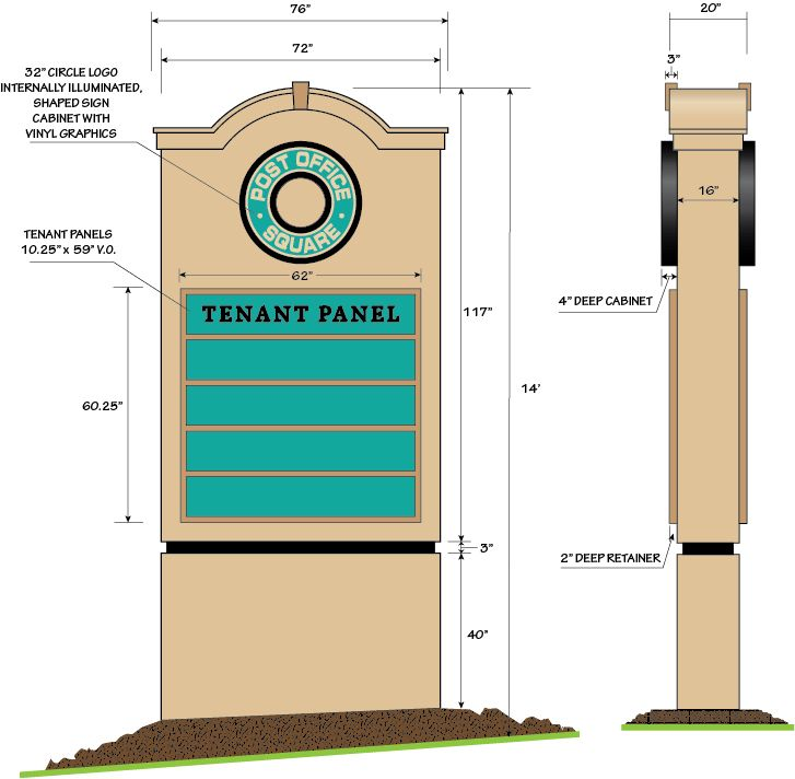 Tenant panel pylon sign design by Robert Hutchinson