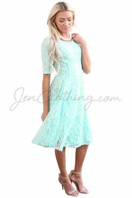Meadow Modest Dress In Light Turquoise Mint Blue Lace Modest Dresses Prom Dresses Modest Knee Length Lace Dress