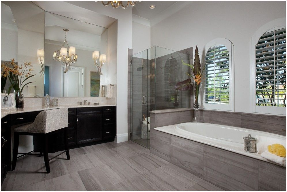 Grey Wood Tile Bathroom Exceptional Pony Wall Interior Home Designs