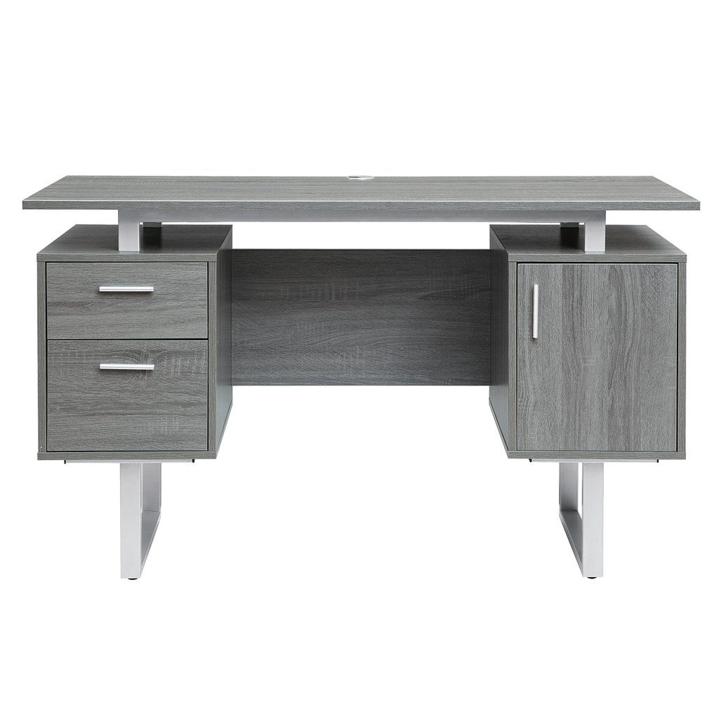 Modern Grey Office Desk With Storage Modern Office Desk Desk