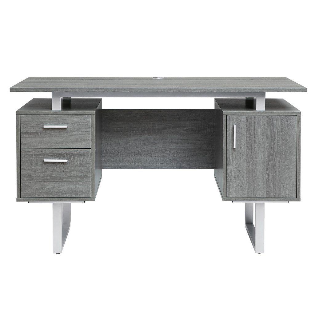 Modern Grey Office Desk With Storage Modern Office Desk Desk Storage Office Desk