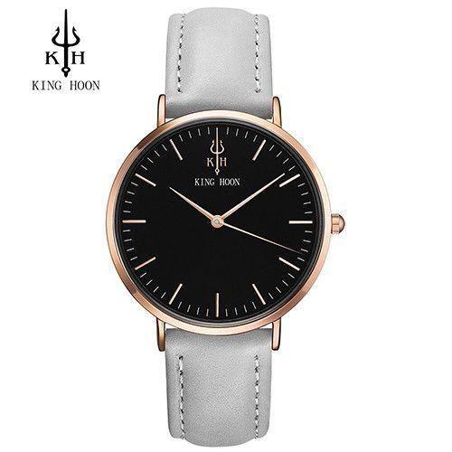 Rose Gold Silver Leather Steel Quartz Wrist Watch