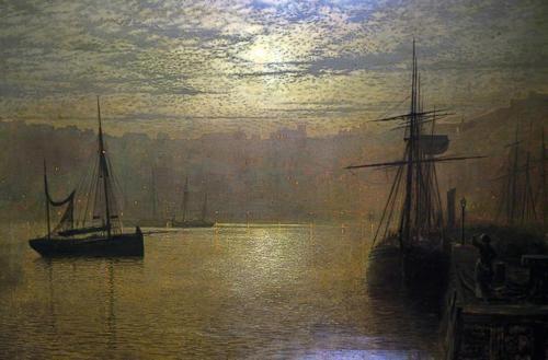(EN) John Atkinson Grimshaw - Lights In The Harbour, Scarborough (1879)