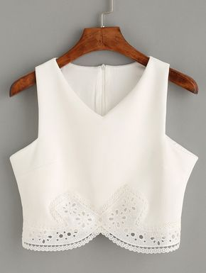new arrive outlet boutique later Top encaje crop tank -blanco | White lace crop top, Fashion ...