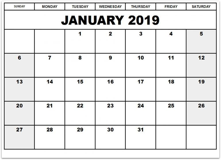 January 2019 Calendar Monthly Template Format January 2019
