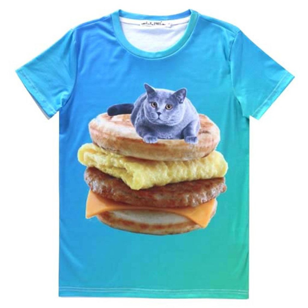 Chartreux Kitty Cat on Sausage Egg McMuffin Graphic Tee $24 50 t