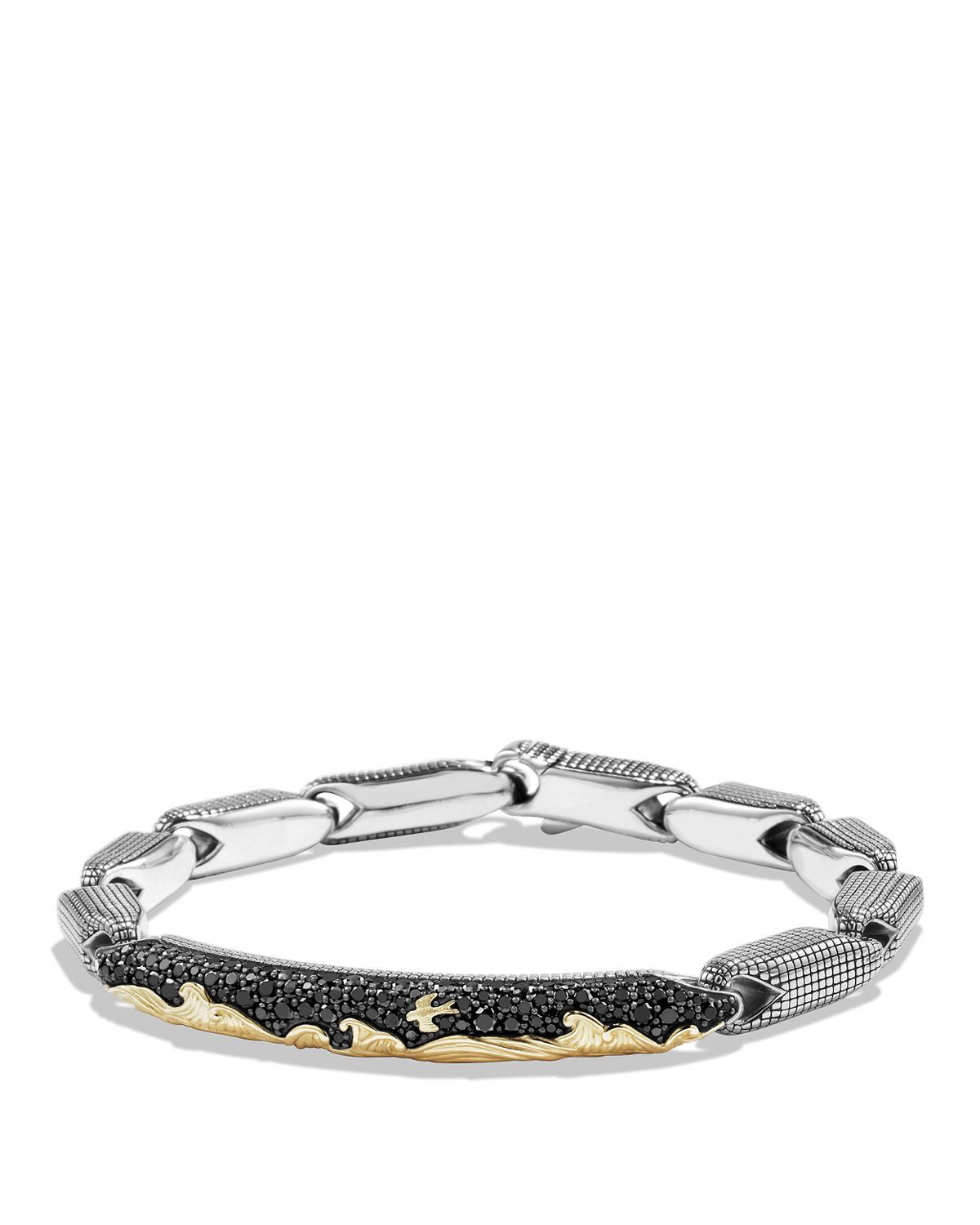 David Yurman  Waves Pavé ID Bracelet with 18K Gold and Black Diamonds