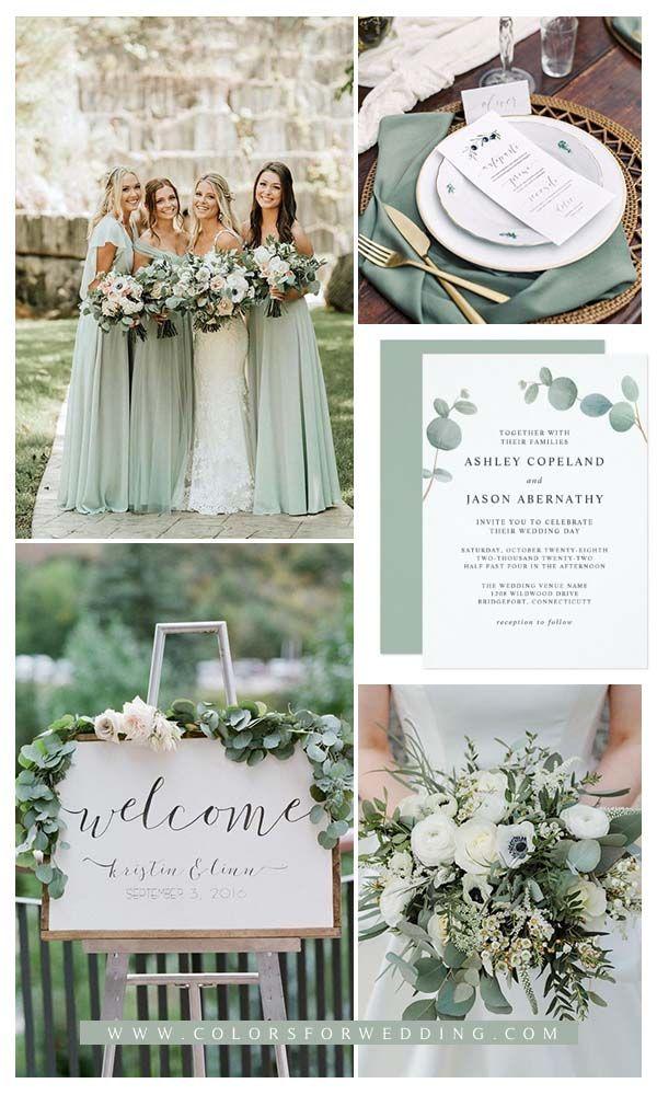 Watercolor Eucalyptus Greenery Wedding Invitations