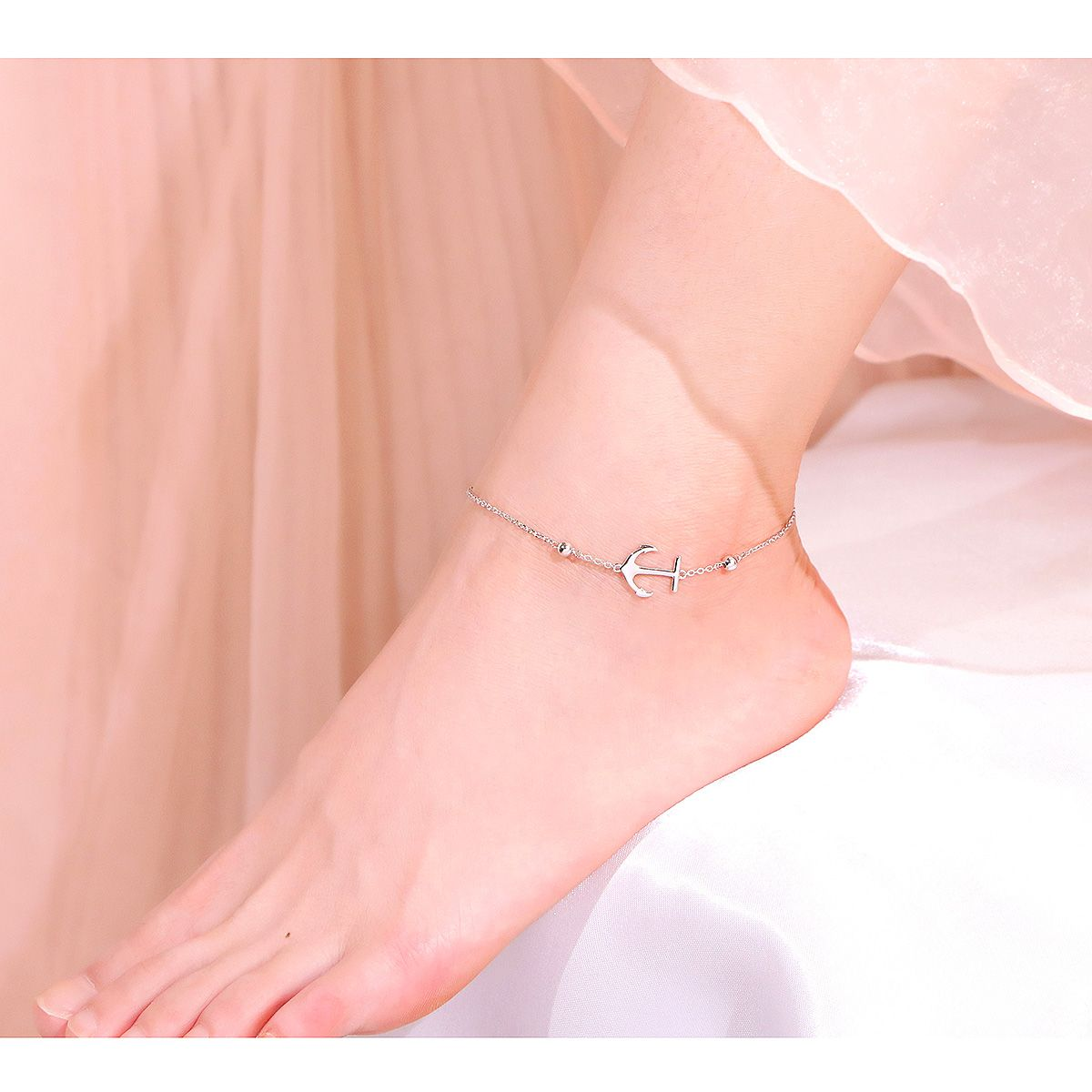 Silver boho ankle chain 925 Gift for her Boho Jewelry Women/'s Jewelry