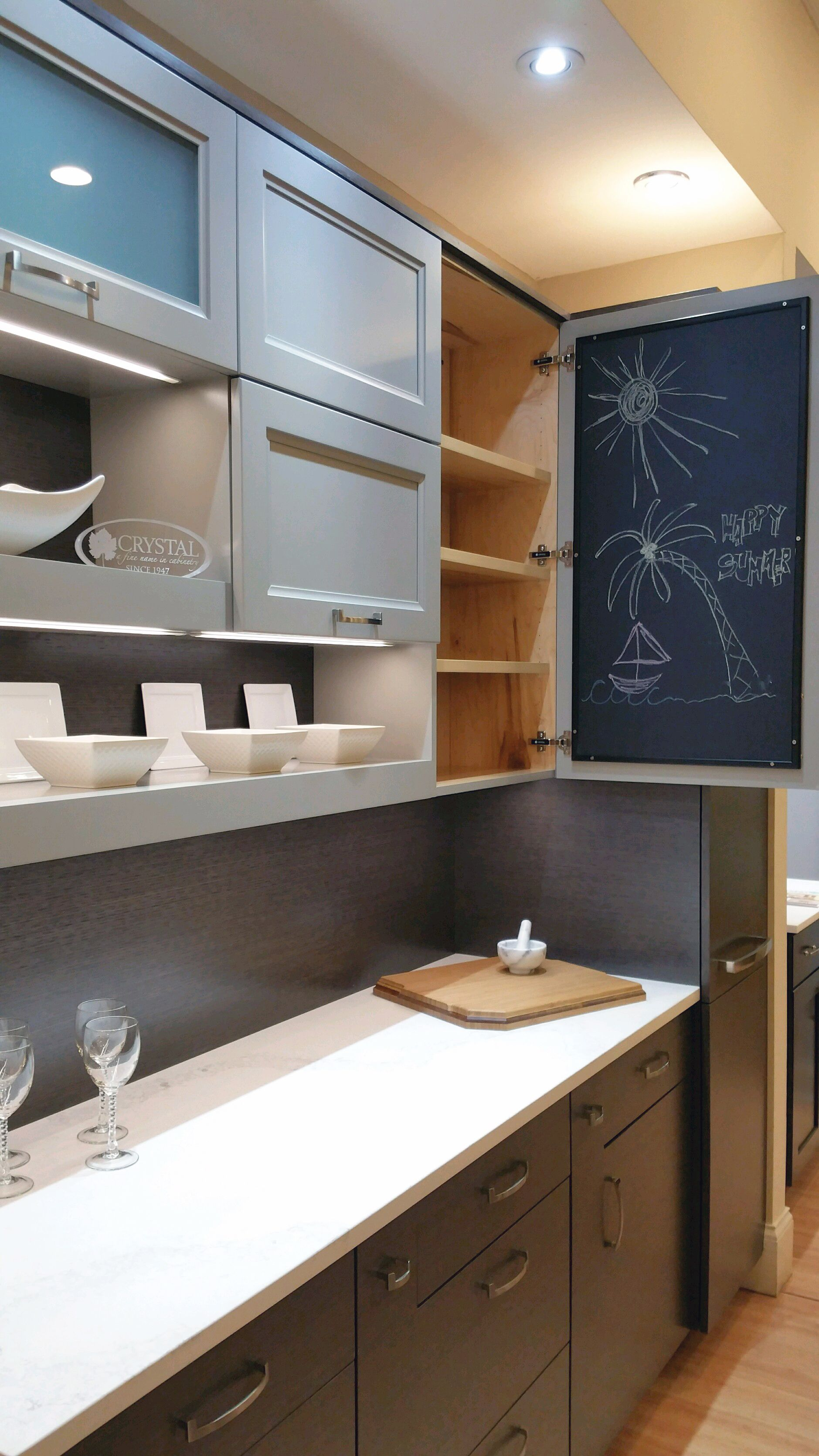 We Love This Idea From Crystal Cabinet Works... A Message Blackboard  Mounted On The Inside Of The Cabinet Door!