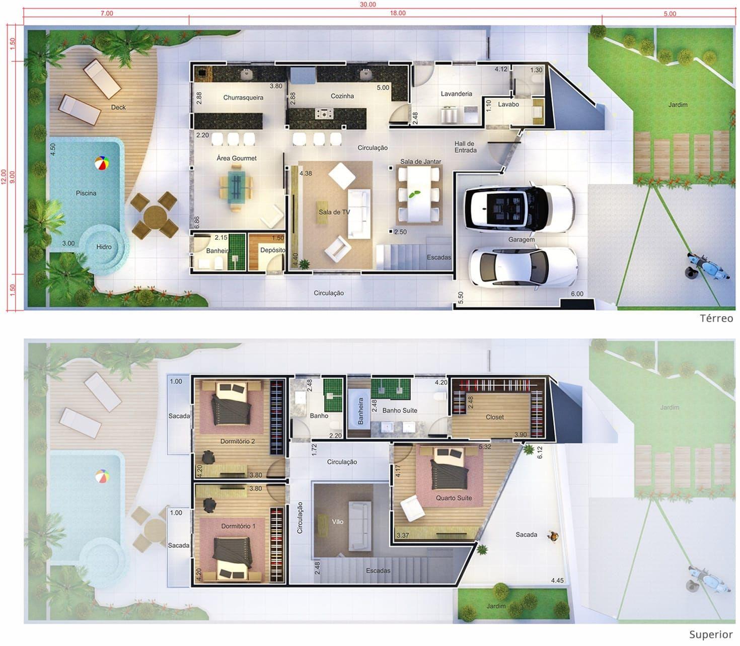 Projeto De Sobrado Com Design Inovador. Planta Para Terreno 12x30. Dream House  PlansSmall ...