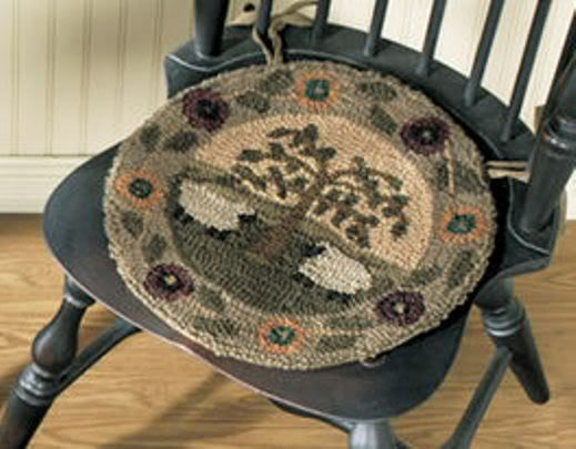 Superior Chair Pads Willow Lane Sheep Willow Tree Hand Hooked Primitive Decor .