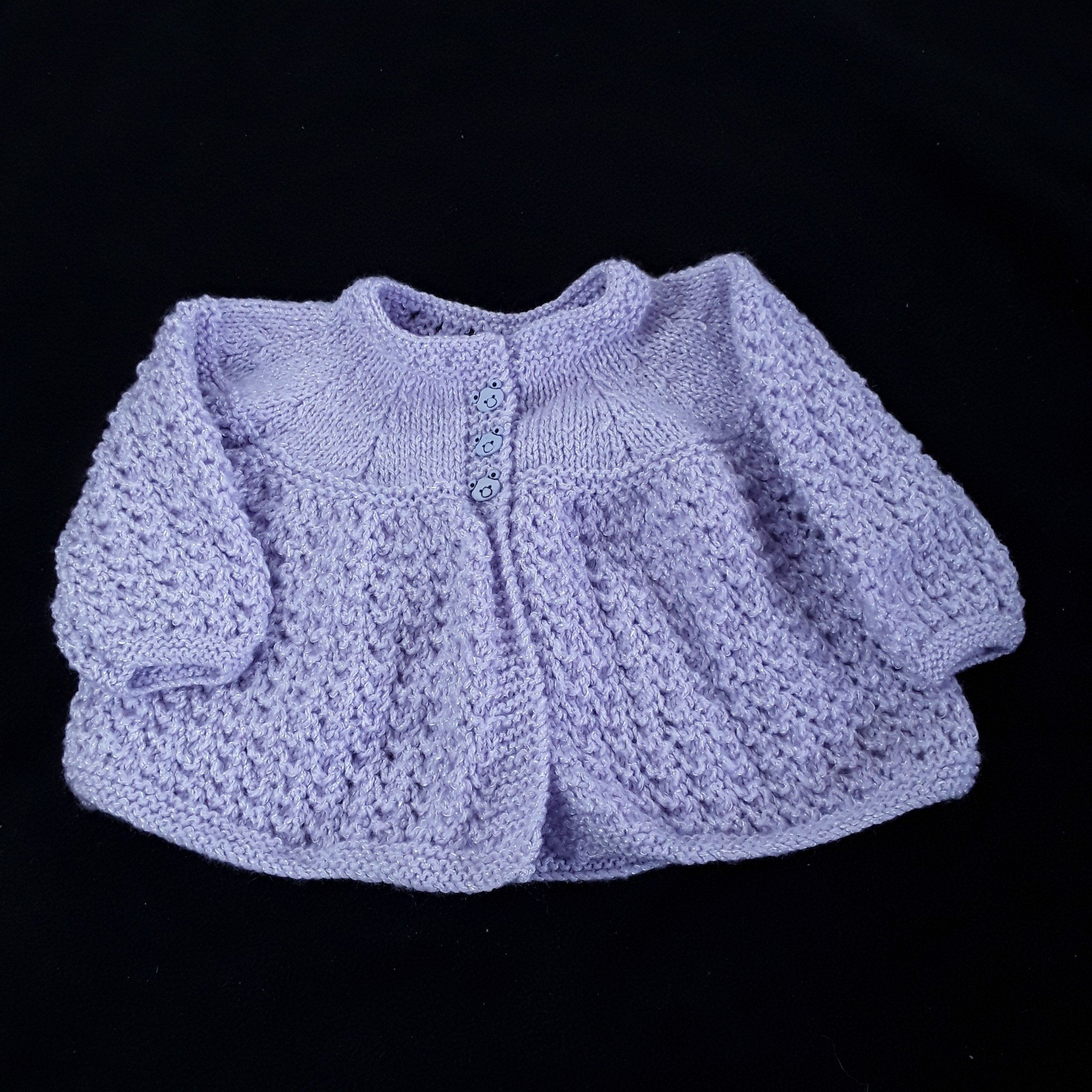dc7df47e0 Sparkly lilac hand knitted baby cardigan 6 - 12 months matinee coat baby  clothes knitwear
