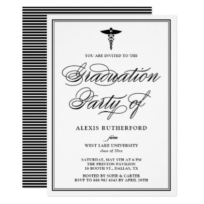 Black Elegant Script Medical School Graduation Card   Script Gifts Template  Templates Diy Customize Personalize Special