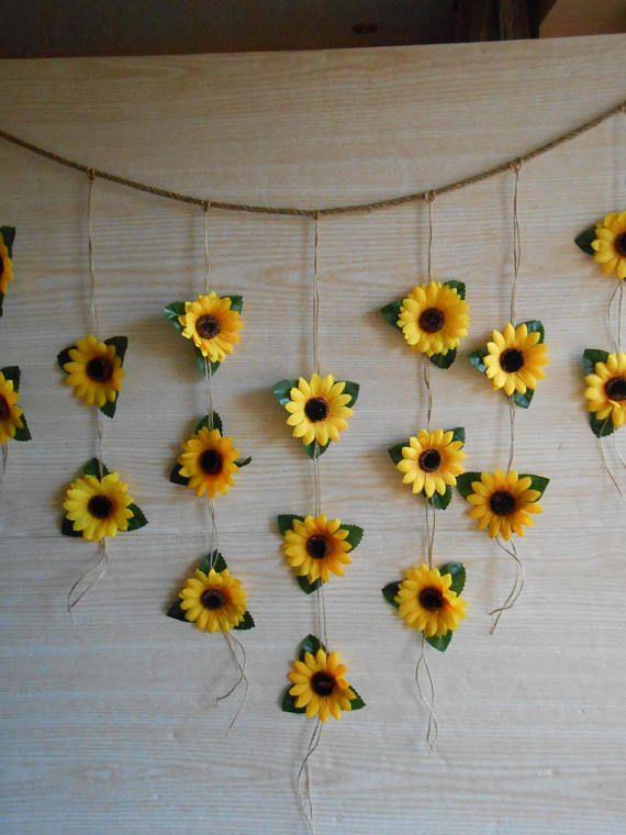 Sonnenblume Hochzeit Dekor, Sonnenblume Girlande, Brautdusche Dekor, Seidenblume Girlande, Brautdusche Girlande, Blume Wand Hintergrund Bunting   – Dorm