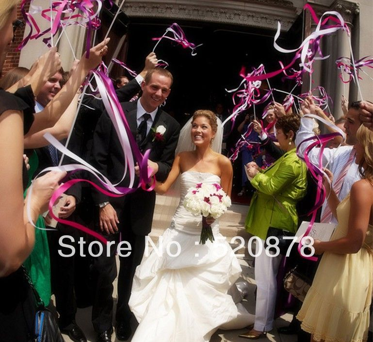 100Pcs Outdoor Wedding Ribbon Stick / Sparklers Fairy Magic Wands ...