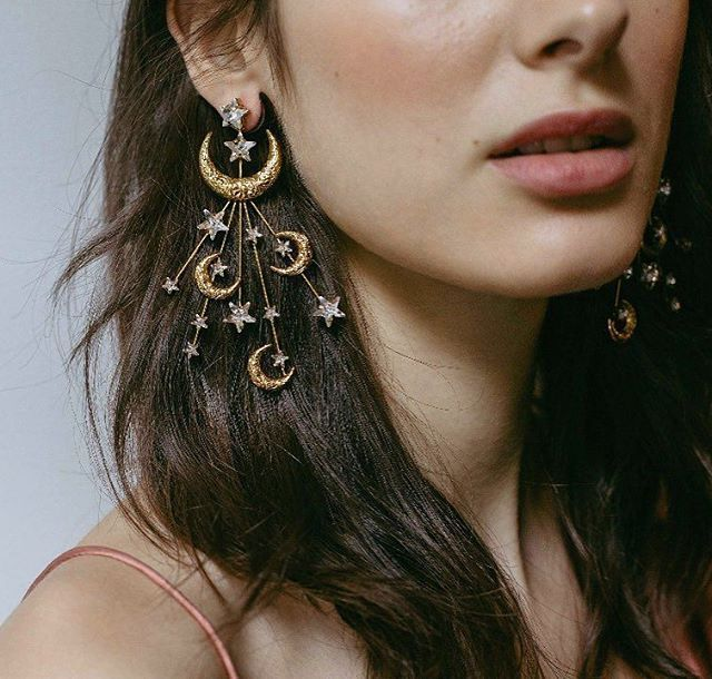 The moon and the stars... : @thewedlist Accessories: @jenniferbehr #ClairePettibone #inspo #accessories #details #moon #stars #earrings