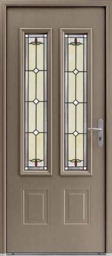 Porte aluminium porte entree bel 39 m classique poignee plaque gris deco bel 39 m mi vitree - Porte double vitrage ...