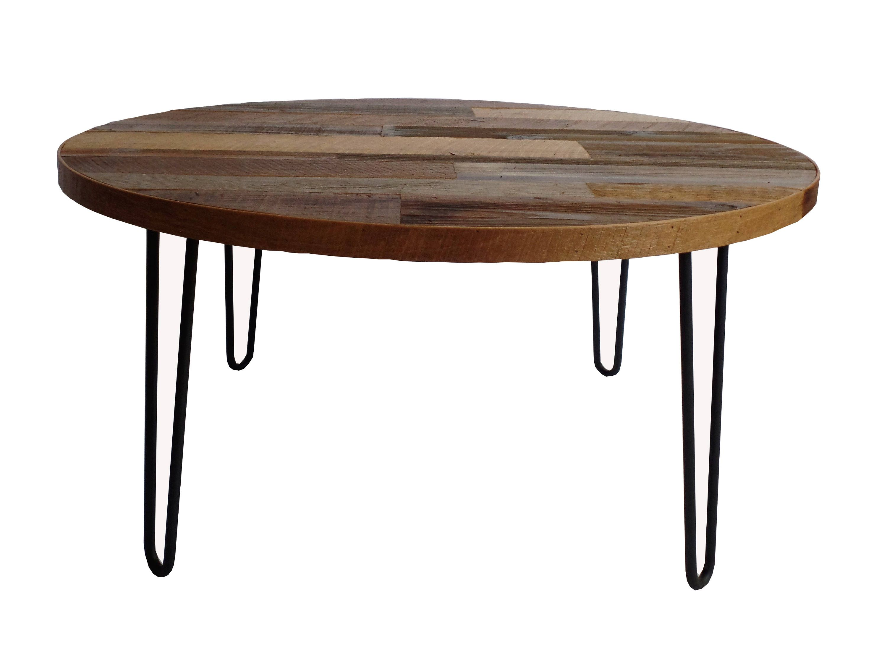 Round Coffee Table With Hairpin Legs Reclaimed