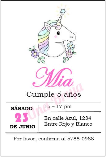Ideas Para Cumpleaños Unicornios Invitaciones Unicornio