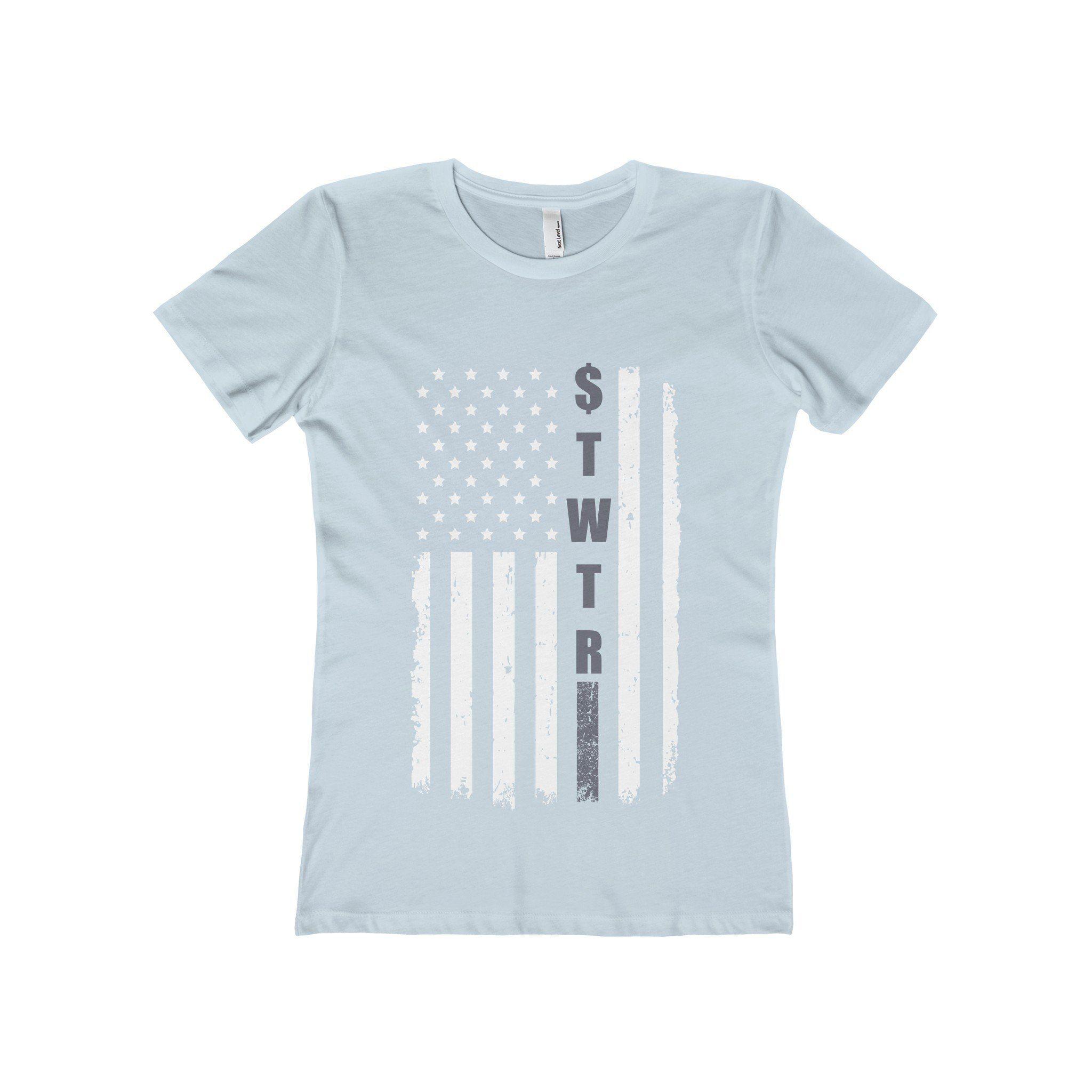Twitter (Grey/White Flag) - Women's The Boyfriend Tee