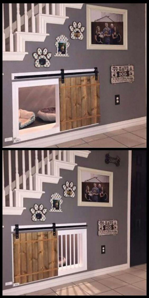Awesome dog kennel under the stairs design idea. If you want an indoor dog house, utilizing the space under the stairs for a cozy, attractive and practical space for dogs is a good idea! I love this design. #houseinterior