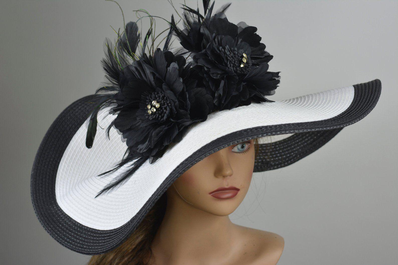 af6fe083 Woman White Black Strips Hat Black Flower Church Wedding Hat Head ...