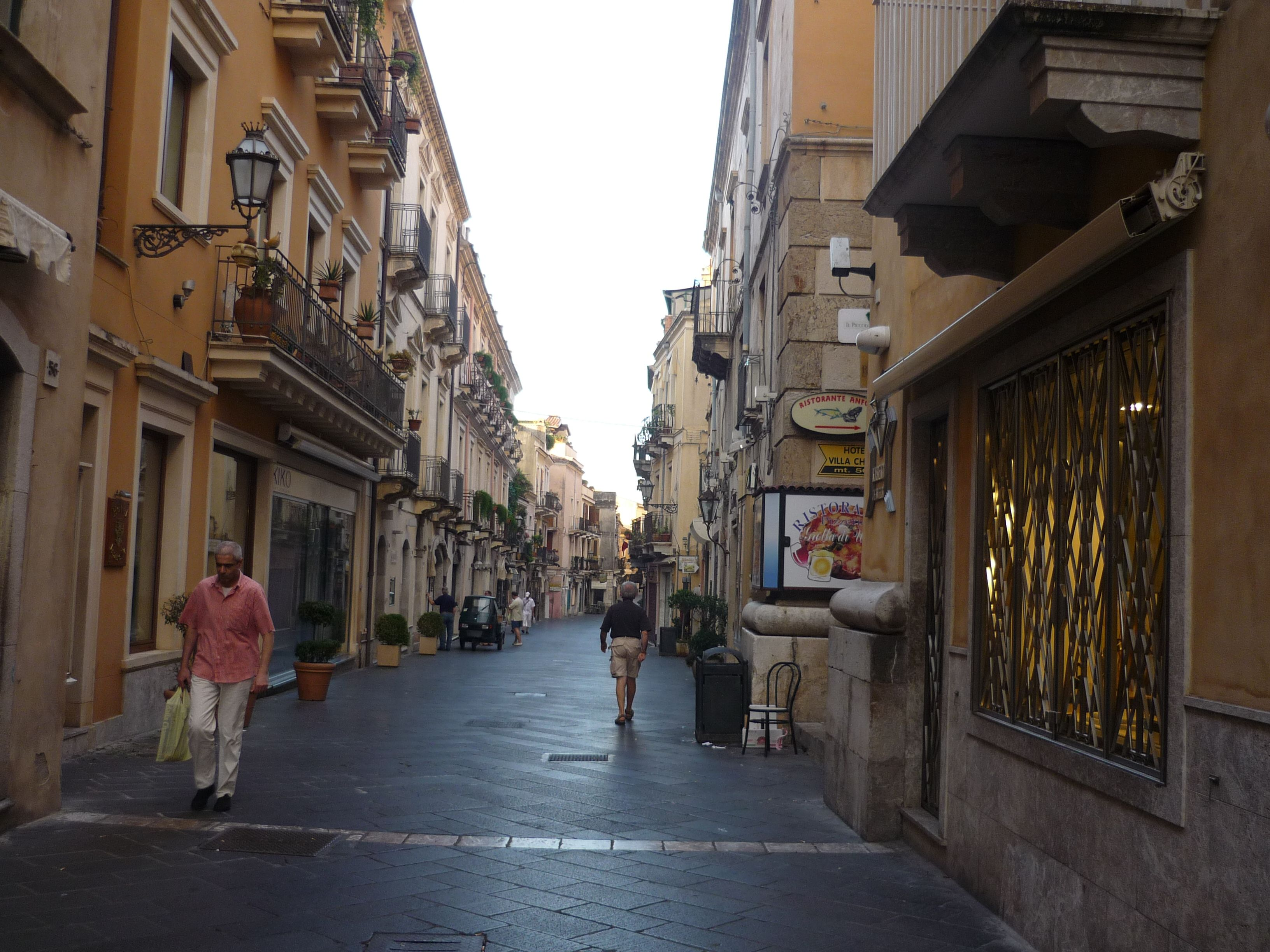 Taormina town centre early in the morning.