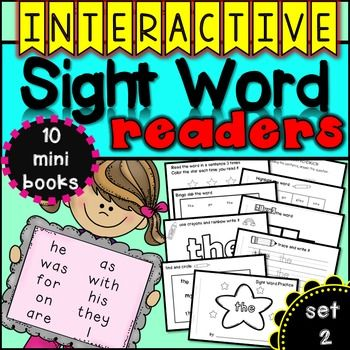 "Interactive Sight Word Readers {set two}This set of 10 interactive readers provides students with an opportunity to practice using sight words over and over again in a hands on way. Each book highlights one word to study. In each book, students will ""find the sight word"", ""trace the sight word"", ""rainbow write the sight word"", ""block the sight word"", ""bingo dab the sight word"", ""highlight the sight word"", ""read the sight word in a sentence"" and finally, ""answer a comprehension sentence""."