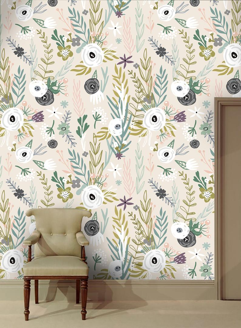 Colorful wallpaper with various leaves and flowers, self