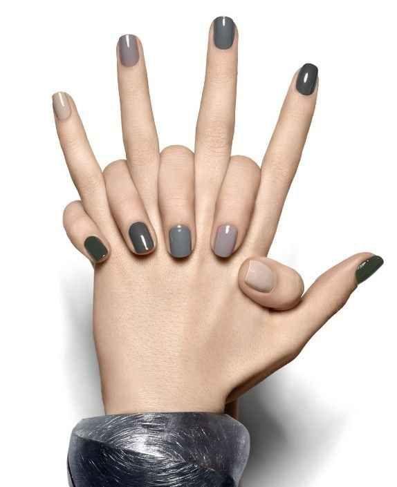 Minimalist gray nails | Makeup | Pinterest | Diseños de arte, La uña ...
