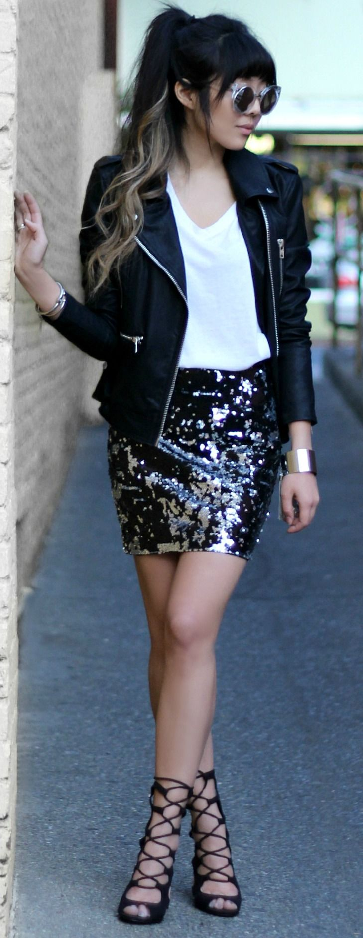Sequin Siren Silver And Black Sequin Skirt Sequin Outfit