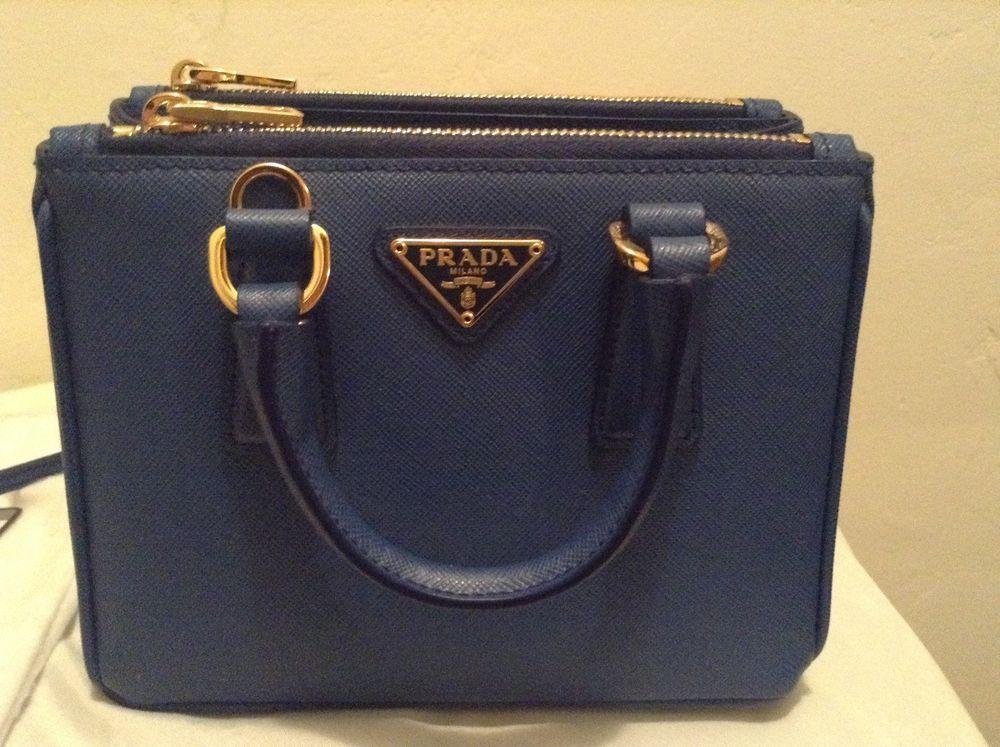 d31590fe44bf Prada Saffiano Lux Double-Zip Mini BN2842 Crossbody Bag Azzurro (blue) # PRADA #SaffianoLuxDoubleZipMiniCrossbodyhandbag