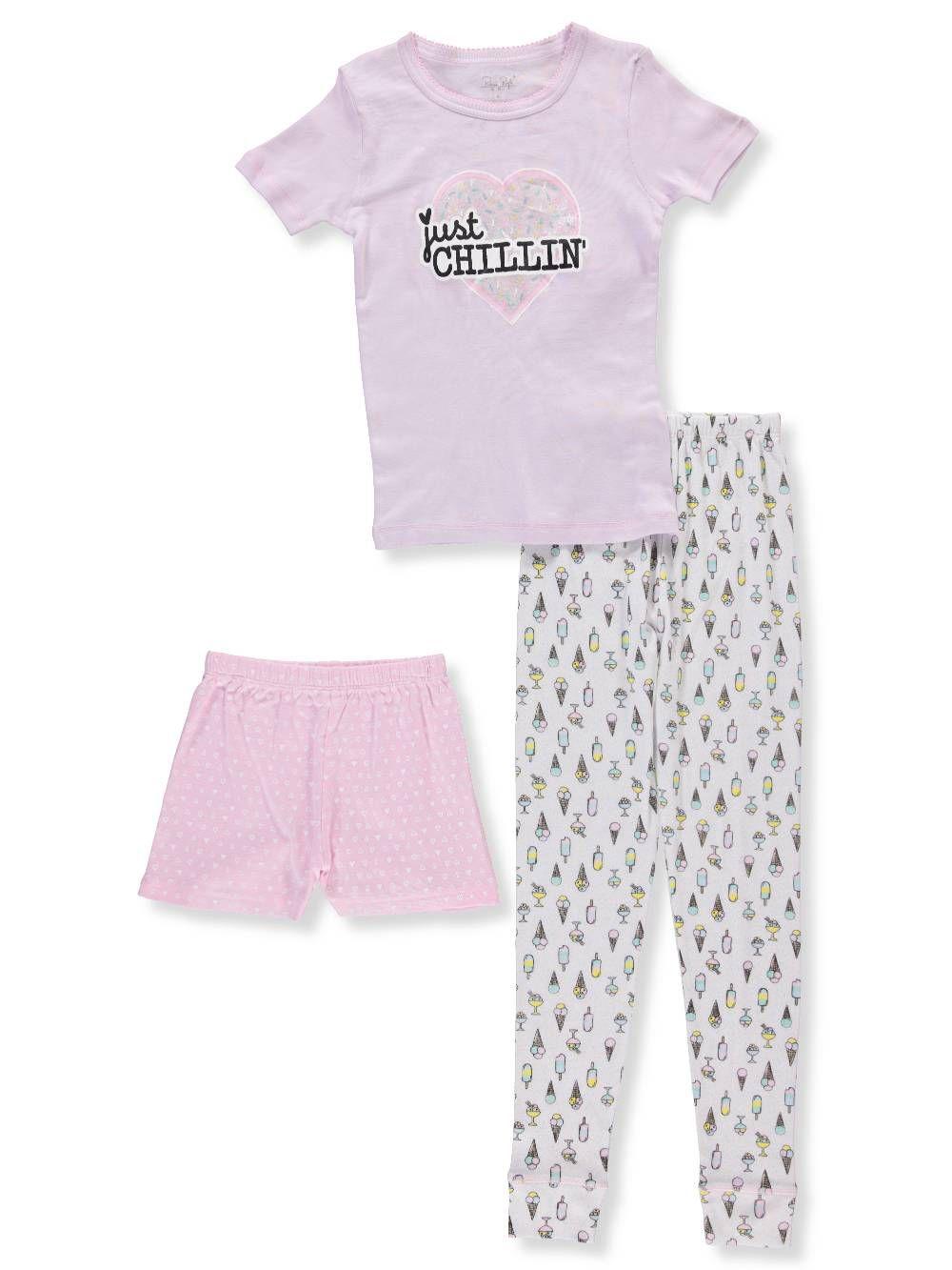 Rene Rofe Girls 3-Piece Mix-and-Match Sleepwear Set