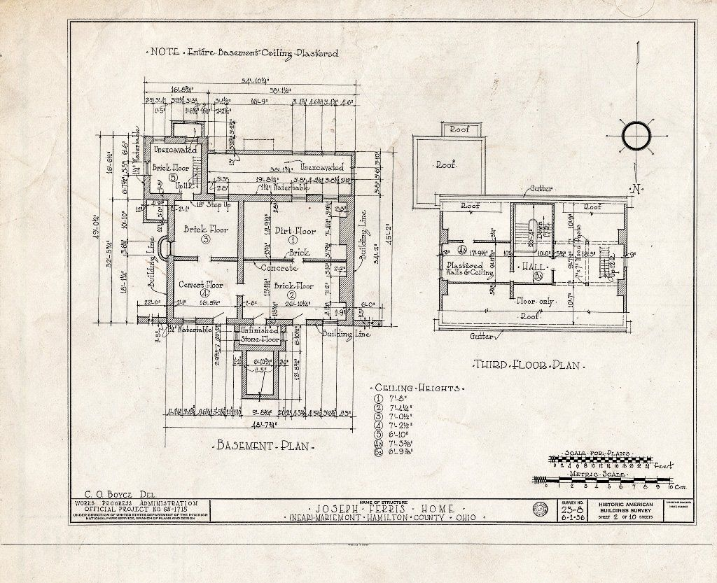 Blueprint HABS Ohio 31 MARMO V 1 Sheet 2 of 10 Joseph Ferris House 5801 Wooster Pike Mariemont Hamilton County OH